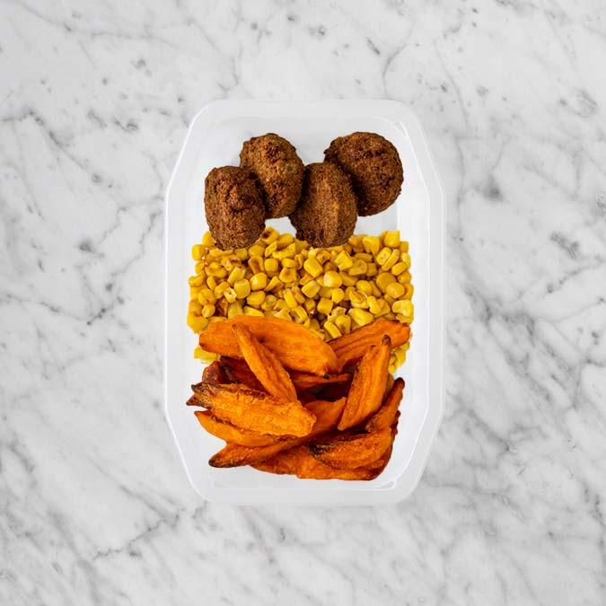 100g Baked Falafel 250g Corn 150g Sweet Potato Fries