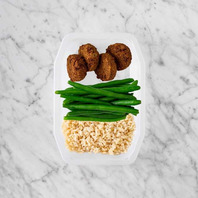 100g Baked Falafel 250g Green Beans 50g Brown Rice