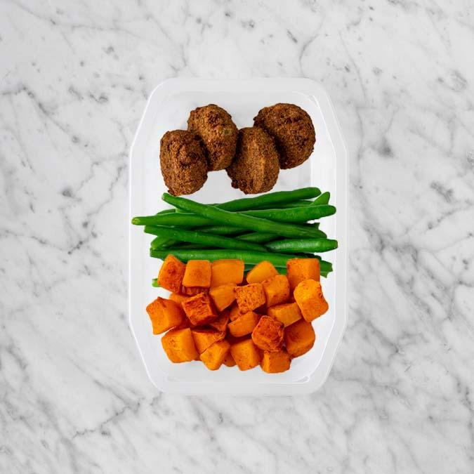 100g Baked Falafel 250g Green Beans 50g Rosemary Baked Sweet Potato