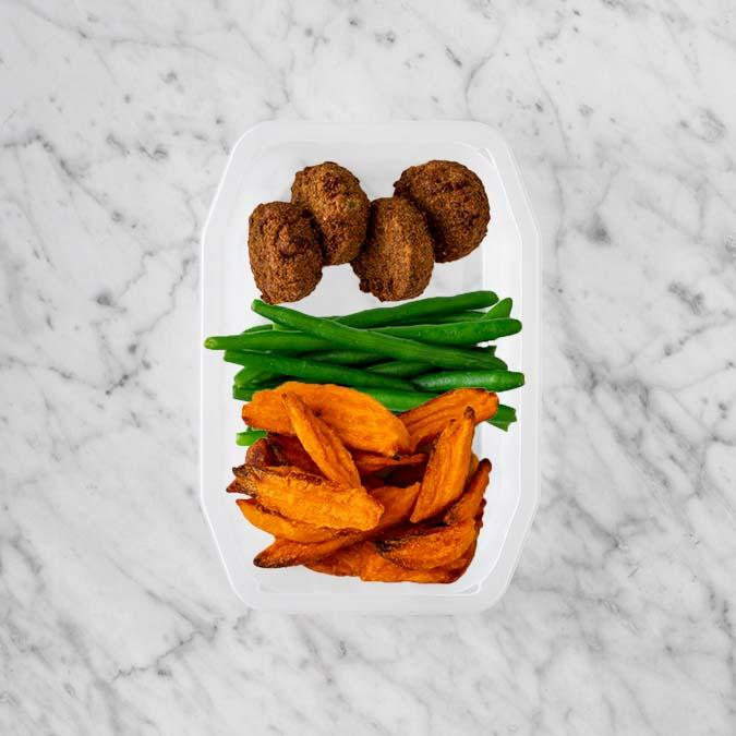 100g Baked Falafel 250g Green Beans 50g Sweet Potato Fries