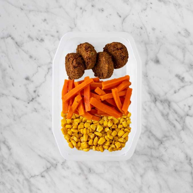 100g Baked Falafel 250g Honey Baked Carrots 200g Corn