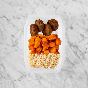 100g Baked Falafel 250g Rosemary Baked Sweet Potato 150g Brown Rice