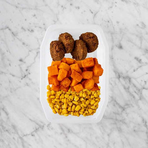 100g Baked Falafel 250g Rosemary Baked Sweet Potato 50g Corn