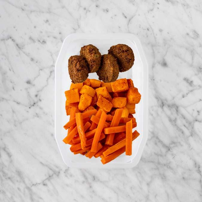 100g Baked Falafel 250g Rosemary Baked Sweet Potato 150g Honey Baked Carrots