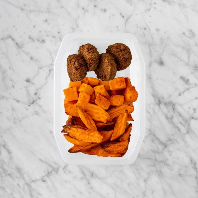 100g Baked Falafel 250g Rosemary Baked Sweet Potato 200g Sweet Potato Fries