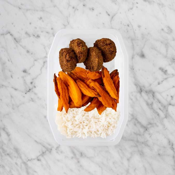 100g Baked Falafel 250g Sweet Potato Fries 50g Basmati Rice