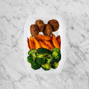 100g Baked Falafel 250g Sweet Potato Fries 250g Broccoli