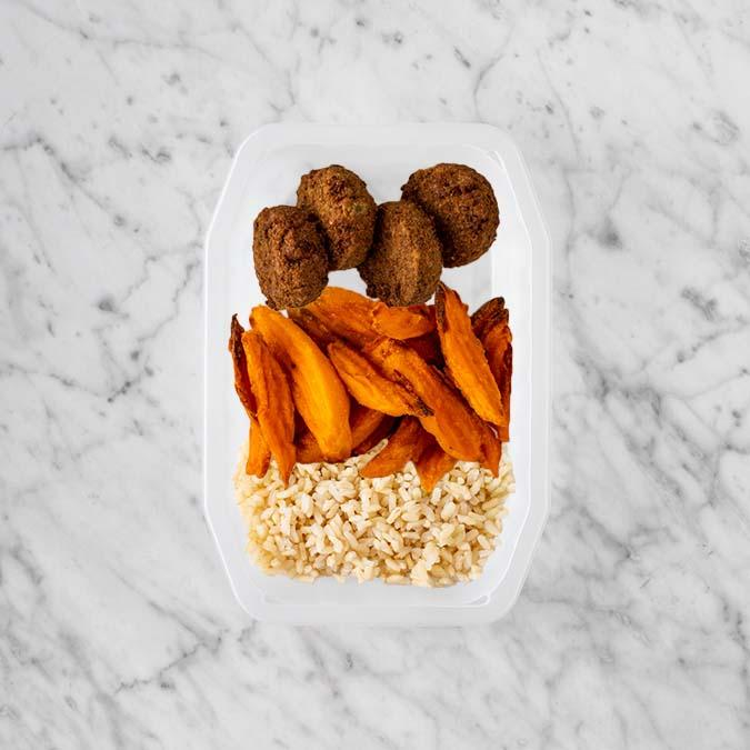 100g Baked Falafel 250g Sweet Potato Fries 150g Brown Rice