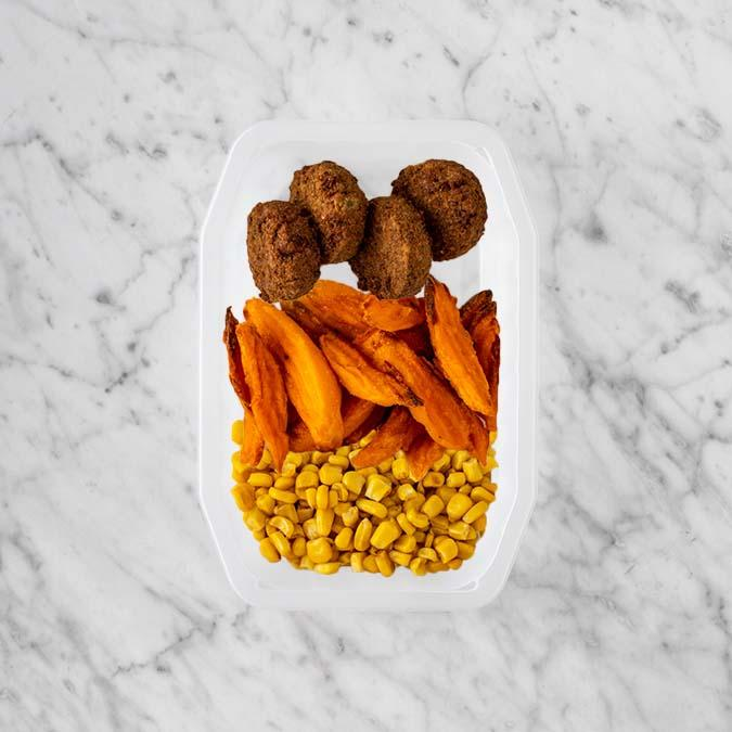 100g Baked Falafel 250g Sweet Potato Fries 100g Corn