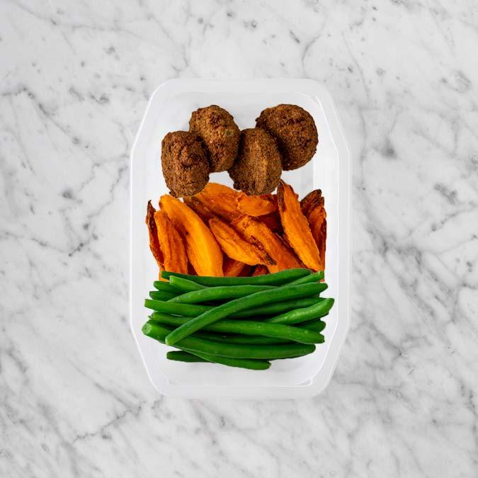 100g Baked Falafel 250g Sweet Potato Fries 200g Green Beans