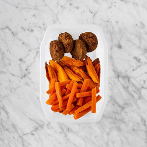 100g Baked Falafel 250g Sweet Potato Fries 250g Honey Baked Carrots