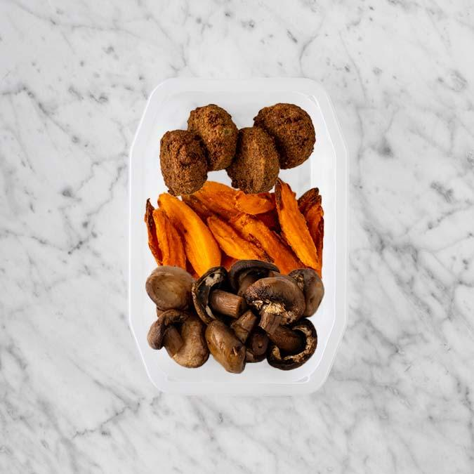 100g Baked Falafel 250g Sweet Potato Fries 100g Mushrooms