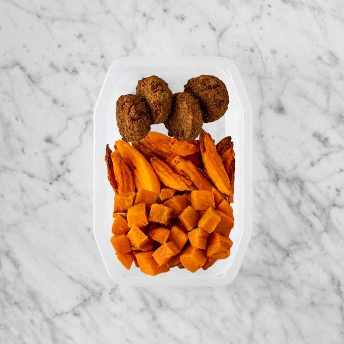 100g Baked Falafel 250g Sweet Potato Fries 150g Smokey Pumpkin