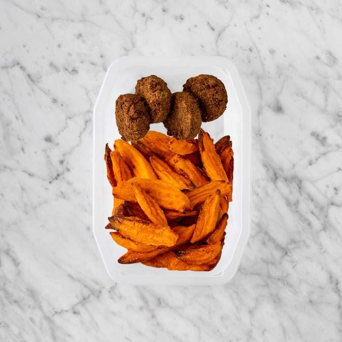 100g Baked Falafel 250g Sweet Potato Fries 50g Sweet Potato Fries