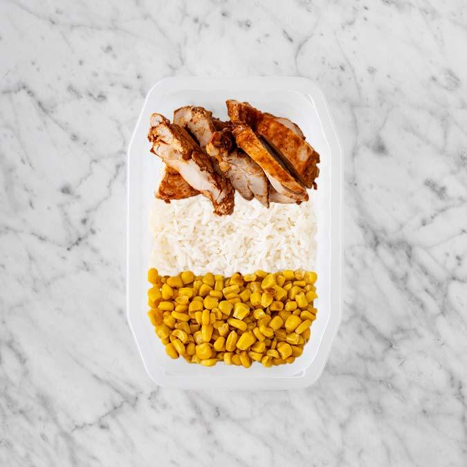 100g Chipotle Chicken Thigh 150g Basmati Rice 150g Corn