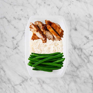 100g Chipotle Chicken Thigh 150g Basmati Rice 250g Green Beans