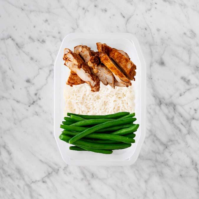 100g Chipotle Chicken Thigh 100g Basmati Rice 250g Green Beans