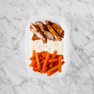 100g Chipotle Chicken Thigh 150g Basmati Rice 100g Honey Baked Carrots