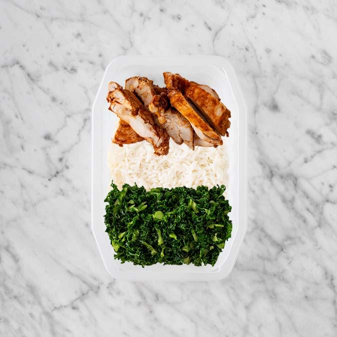 100g Chipotle Chicken Thigh 100g Basmati Rice 250g Kale