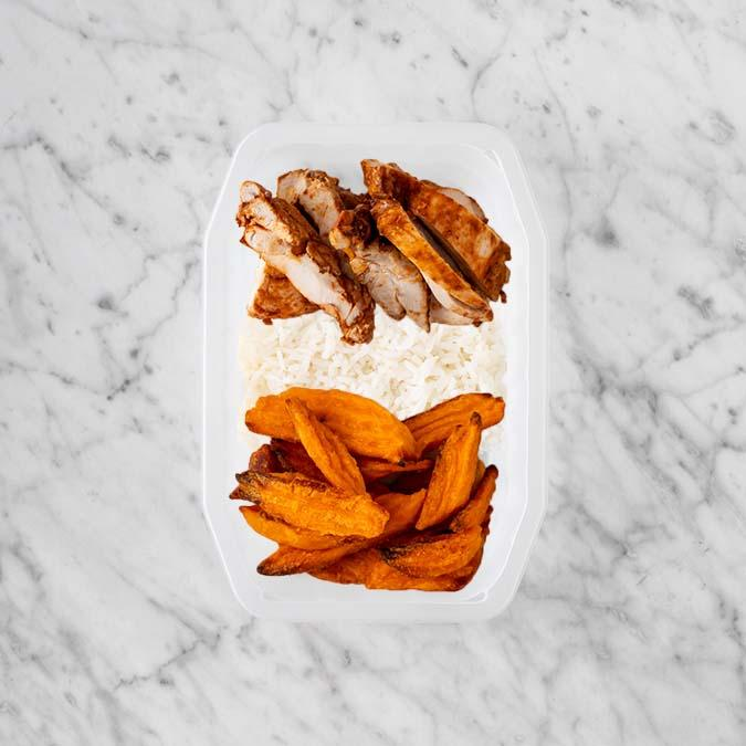 100g Chipotle Chicken Thigh 150g Basmati Rice 150g Sweet Potato Fries