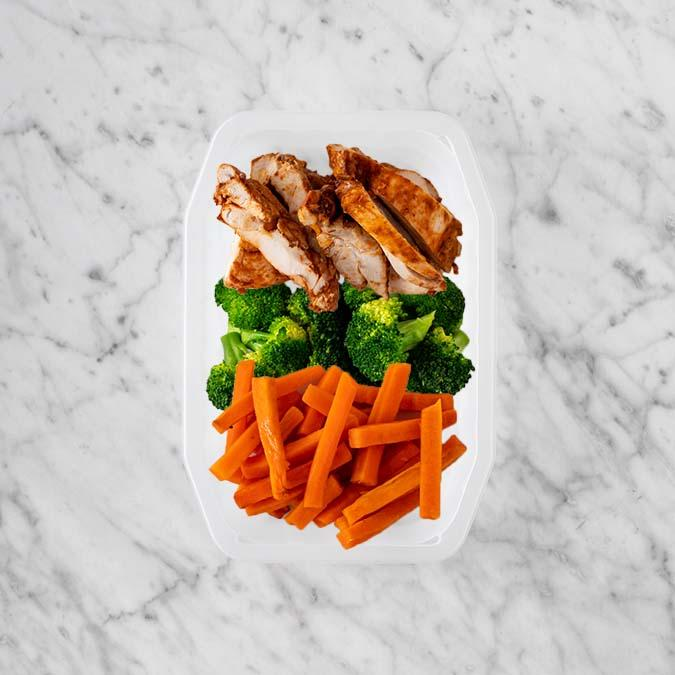 100g Chipotle Chicken Thigh 100g Broccoli 200g Honey Baked Carrots
