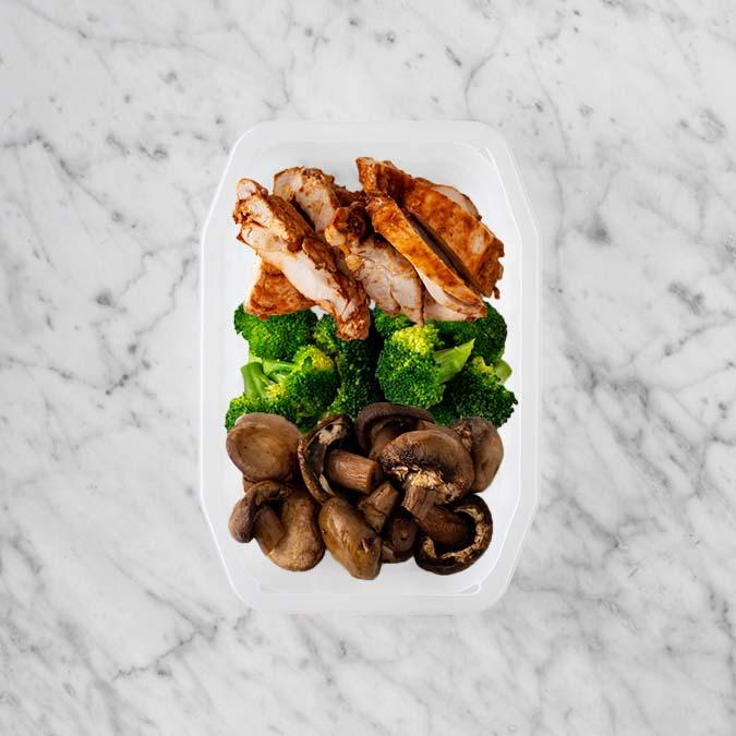 100g Chipotle Chicken Thigh 100g Broccoli 50g Mushrooms
