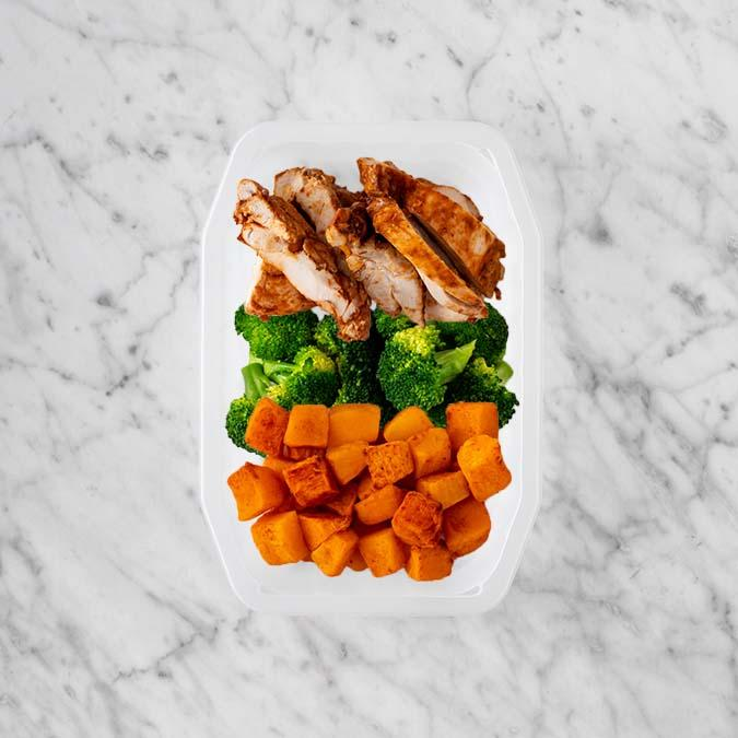 150g Chipotle Chicken Thigh 200g Broccoli 100g Rosemary Baked Sweet Potato