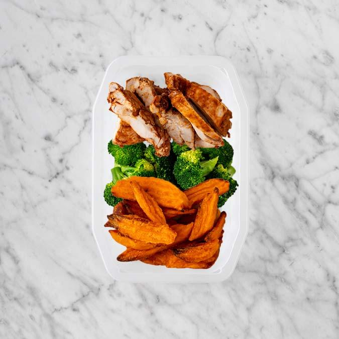 100g Chipotle Chicken Thigh 100g Broccoli 150g Sweet Potato Fries