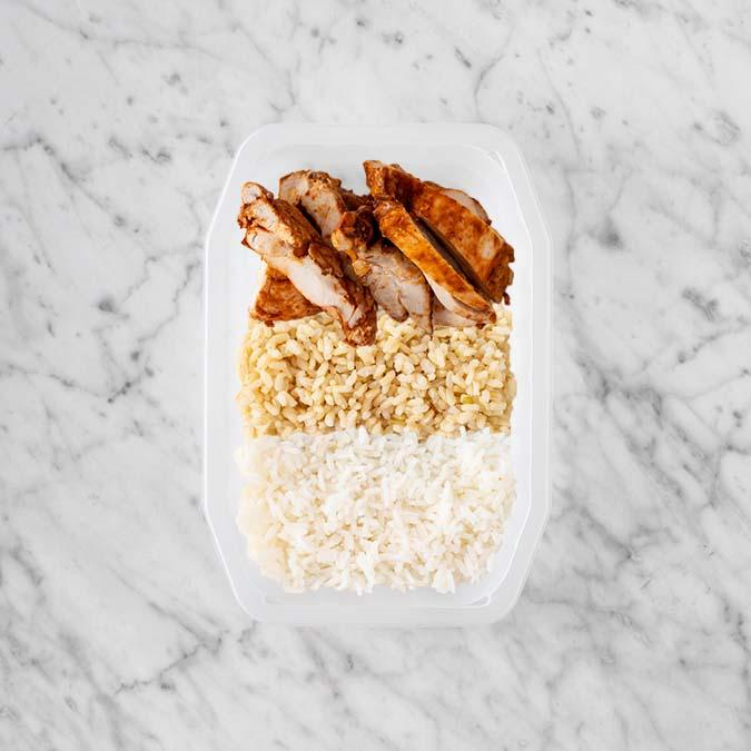 100g Chipotle Chicken Thigh 100g Brown Rice 150g Basmati Rice
