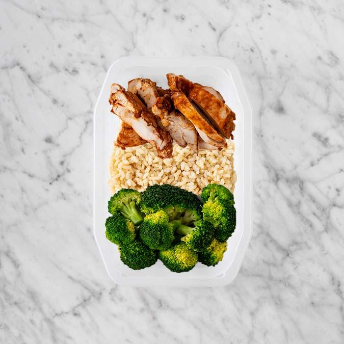 100g Chipotle Chicken Thigh 150g Brown Rice 200g Broccoli