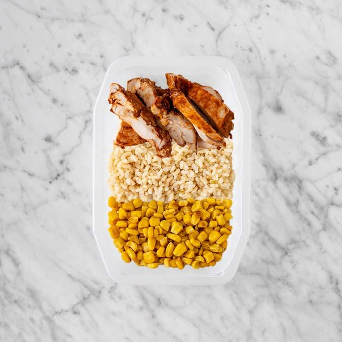 100g Chipotle Chicken Thigh 150g Brown Rice 100g Corn