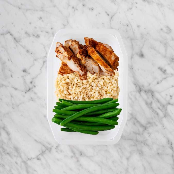 150g Chipotle Chicken Thigh 200g Brown Rice 100g Green Beans