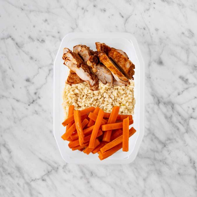100g Chipotle Chicken Thigh 100g Brown Rice 250g Honey Baked Carrots