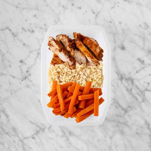100g Chipotle Chicken Thigh 150g Brown Rice 50g Honey Baked Carrots