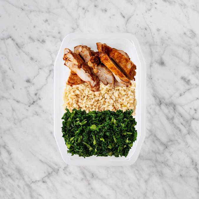150g Chipotle Chicken Thigh 200g Brown Rice 100g Kale