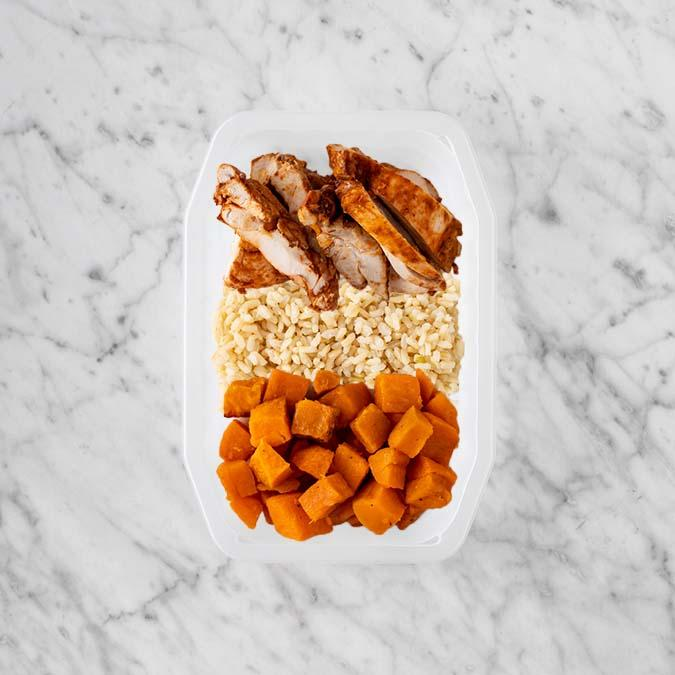 100g Chipotle Chicken Thigh 150g Brown Rice 150g Smokey Pumpkin