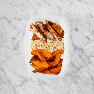 100g Chipotle Chicken Thigh 100g Brown Rice 200g Sweet Potato Fries