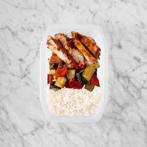 100g Chipotle Chicken Thigh 100g Char Veg 250g Basmati Rice