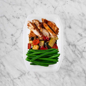 150g Chipotle Chicken Thigh 150g Char Veg 100g Green Beans