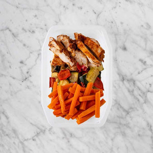 100g Chipotle Chicken Thigh 100g Char Veg 150g Honey Baked Carrots