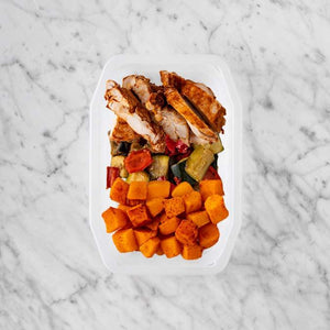 100g Chipotle Chicken Thigh 100g Char Veg 150g Rosemary Baked Sweet Potato