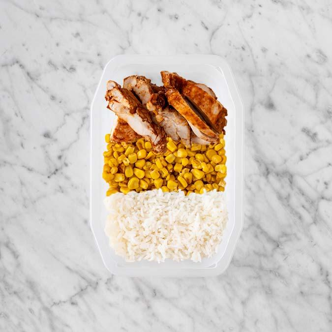100g Chipotle Chicken Thigh 100g Corn 50g Basmati Rice