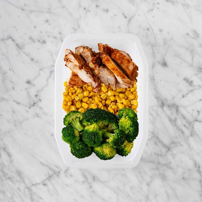 100g Chipotle Chicken Thigh 100g Corn 150g Broccoli