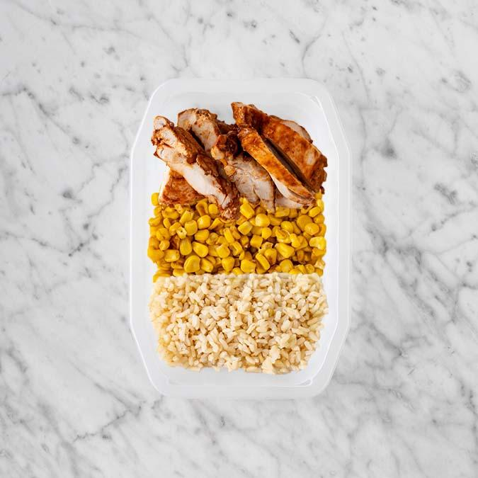 100g Chipotle Chicken Thigh 100g Corn 250g Brown Rice