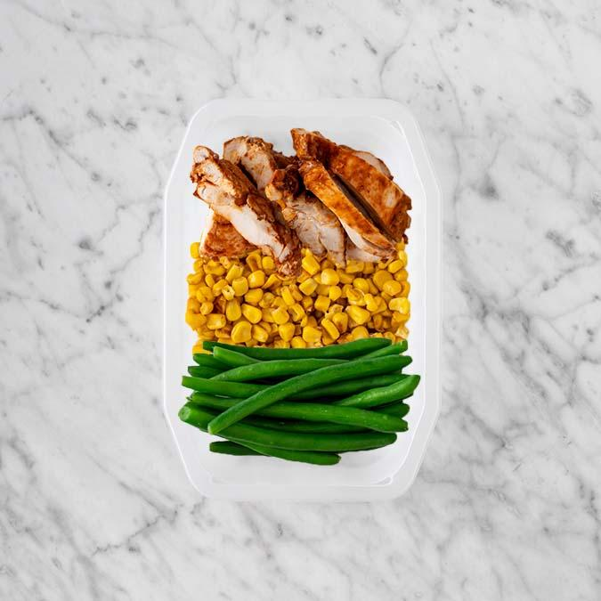 150g Chipotle Chicken Thigh 150g Corn 100g Green Beans