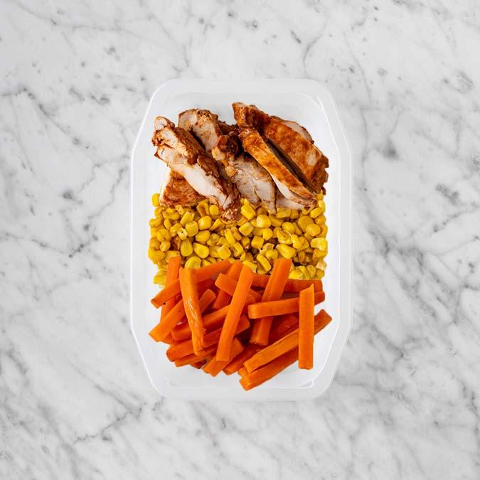 100g Chipotle Chicken Thigh 100g Corn 50g Honey Baked Carrots