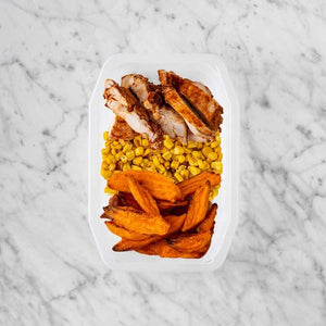 100g Chipotle Chicken Thigh 100g Corn 250g Sweet Potato Fries