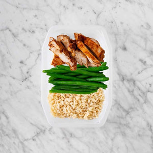100g Chipotle Chicken Thigh 100g Green Beans 250g Brown Rice