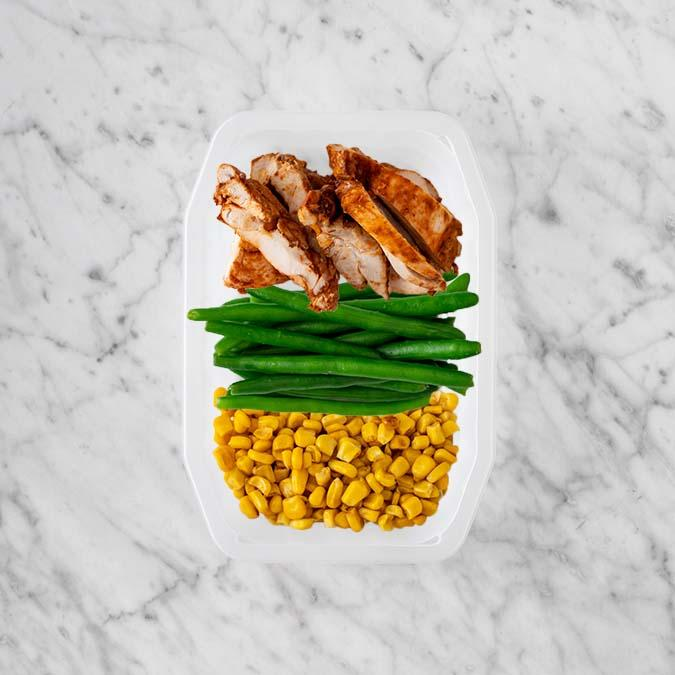 100g Chipotle Chicken Thigh 100g Green Beans 50g Corn
