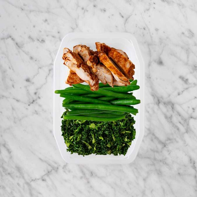 100g Chipotle Chicken Thigh 100g Green Beans 100g Kale